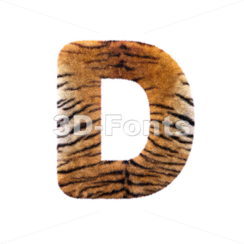 tiger coat font D – Capital 3d character