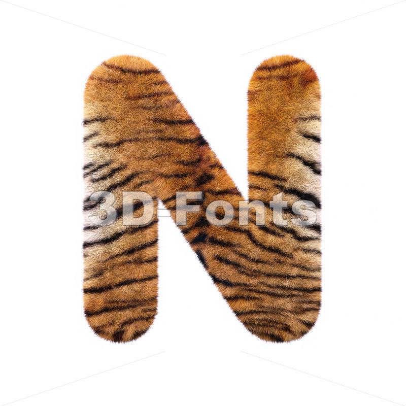 tiger coat font N – Capital 3d letter