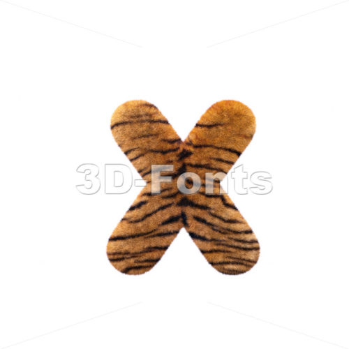 tiger fur 3d font X – Small 3d letter