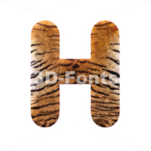 tiger fur 3d letter H – Upper-case 3d character