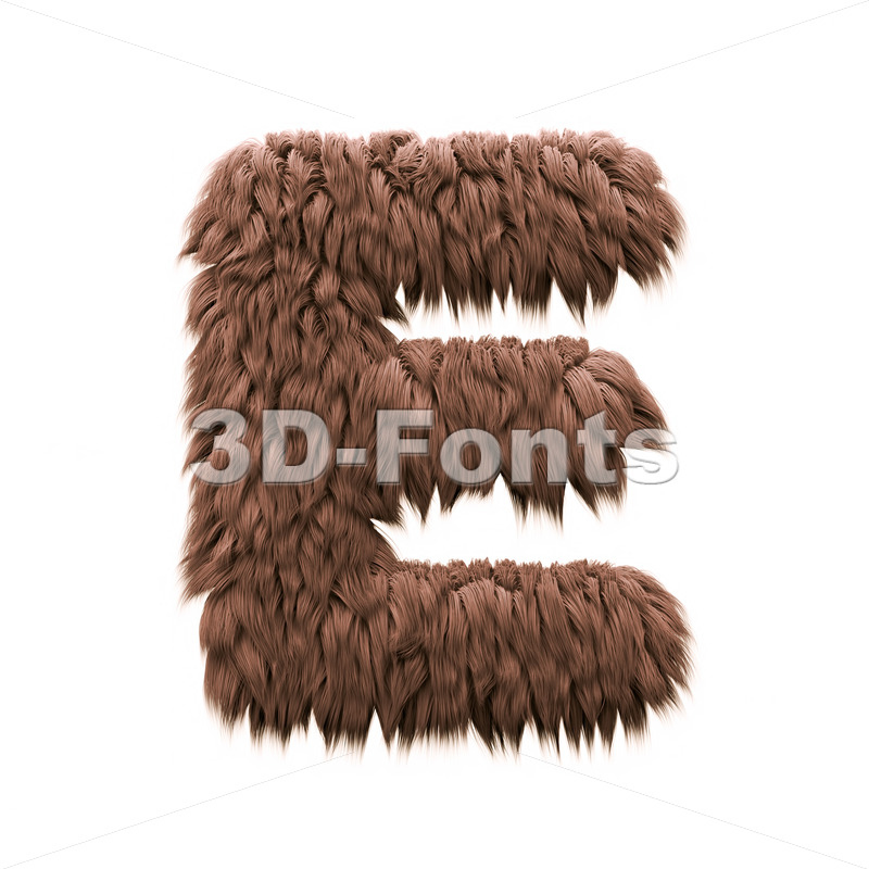 3d Capital character E covered in bigfoot texture - 3d-fonts