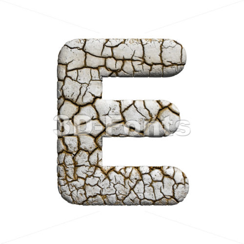 3d Capital character E covered in crackeled texture - 3d-fonts