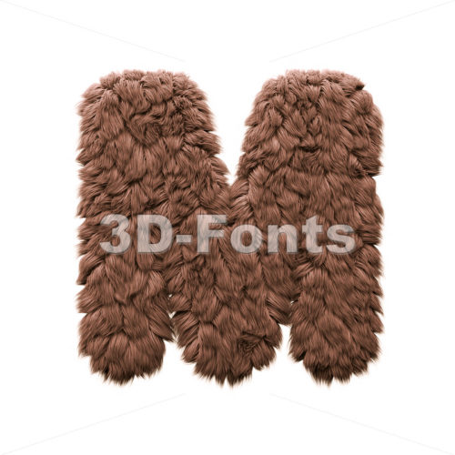 3d Capital character M covered in bigfoot texture - 3d-fonts