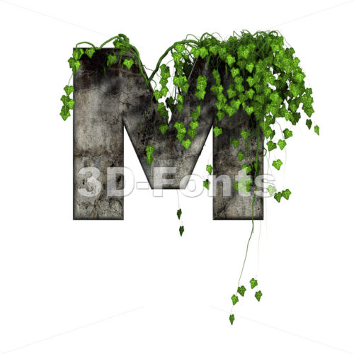 3d Capital character M covered in ivy - Upper-case 3d letter - 3d-fonts