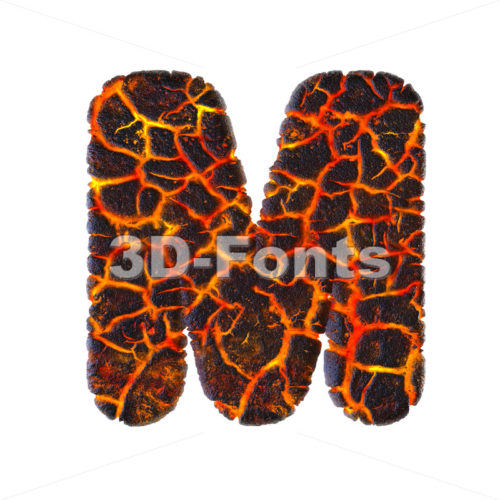 3d Capital character M covered in magma texture - 3d-fonts