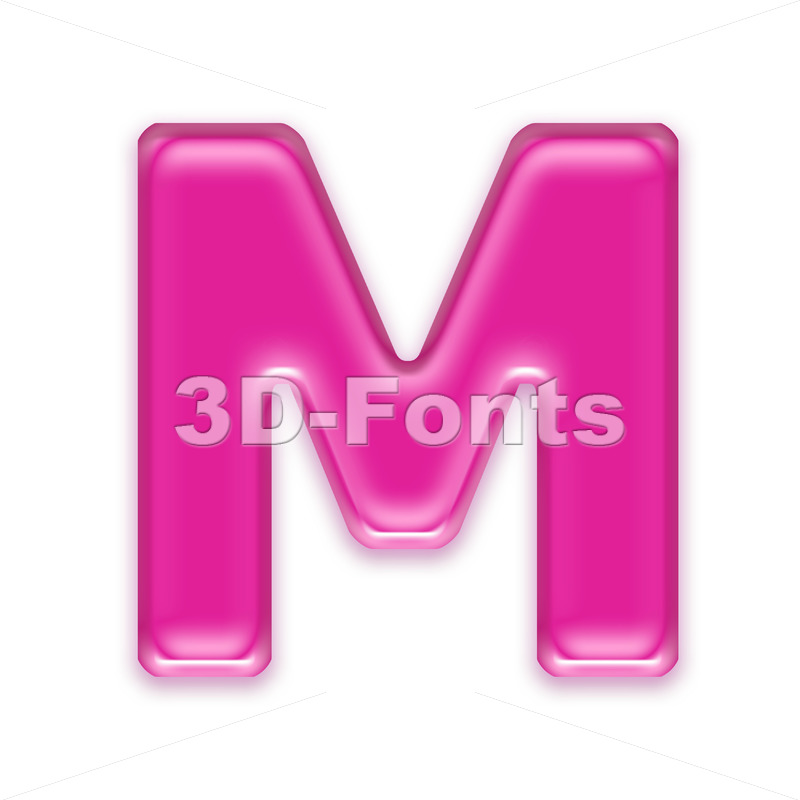 3d Capital character M covered in transparent pink texture - 3d-fonts