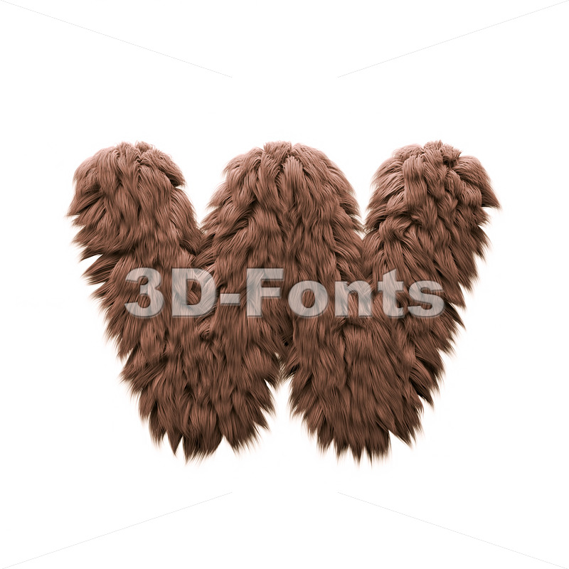 3d Lower-case letter W covered in Monster texture - 3d-fonts