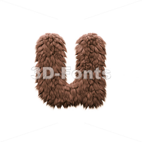 3d Small character U covered in bigfoot texture - 3d-fonts