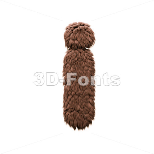 3d Small letter I covered in bigfoot texture - Lowercase 3d character - 3d-fonts