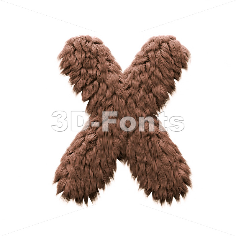 3d Upper-case character X covered in bigfoot texture - 3d-fonts