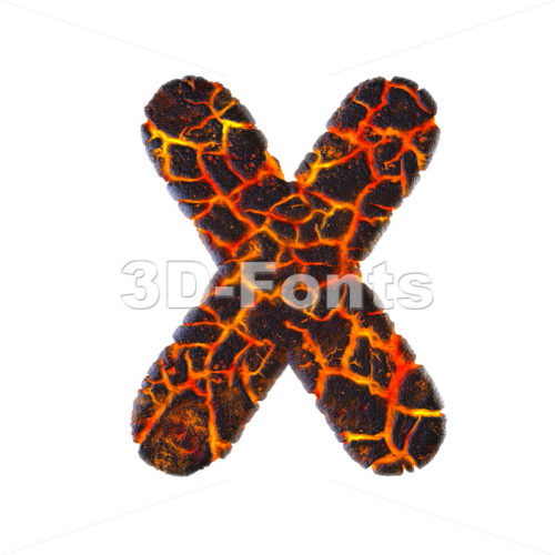 3d Upper-case character X covered in magma texture - 3d-fonts