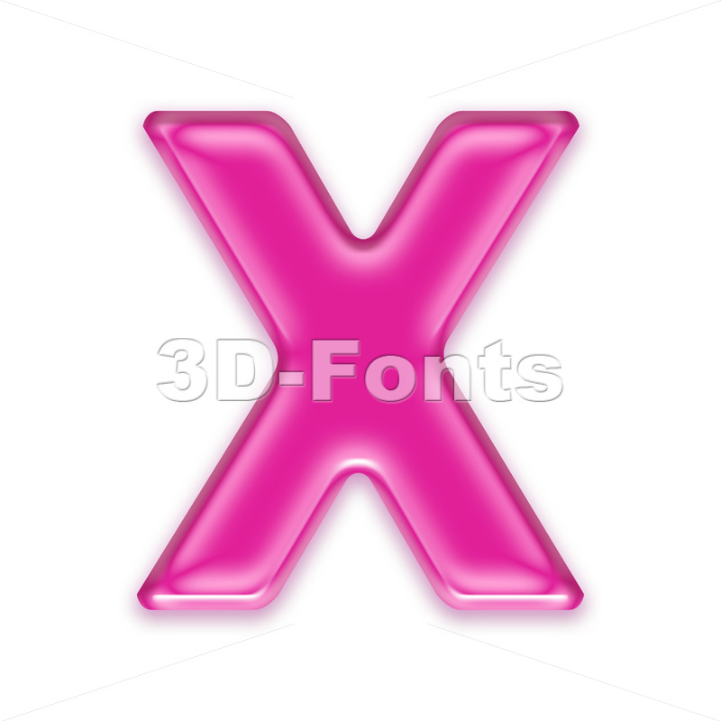3d Upper-case character X covered in transparent pink texture - 3d-fonts