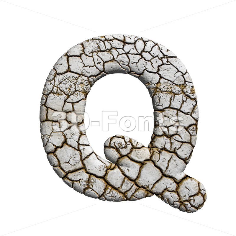 3d Upper-case font Q covered in crackeled texture - 3d-fonts