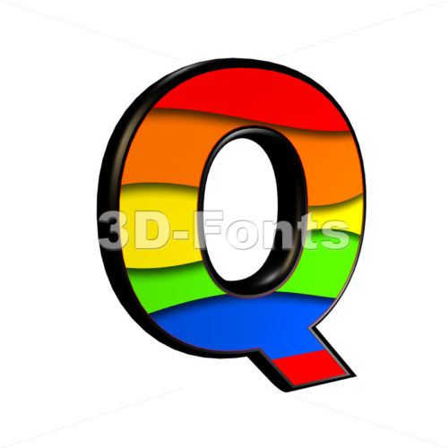 3d Upper-case font Q covered in multicolored texture - 3d-fonts