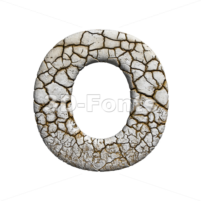 3d Upper-case letter O covered in cracked texture - 3d-fonts