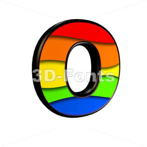 3d Upper-case letter O covered in rainbow texture - 3d-fonts