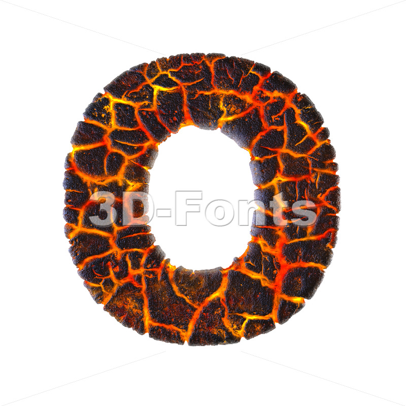 3d Upper-case letter O covered in volcano texture - 3d-fonts