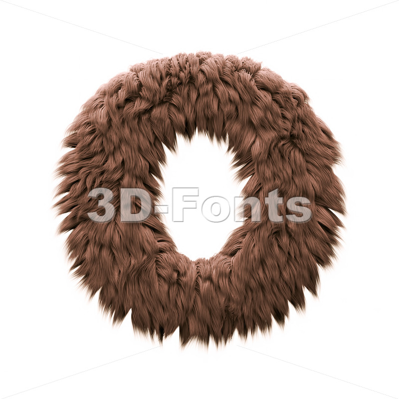3d Upper-case letter O covered in yeti texture - 3d-fonts