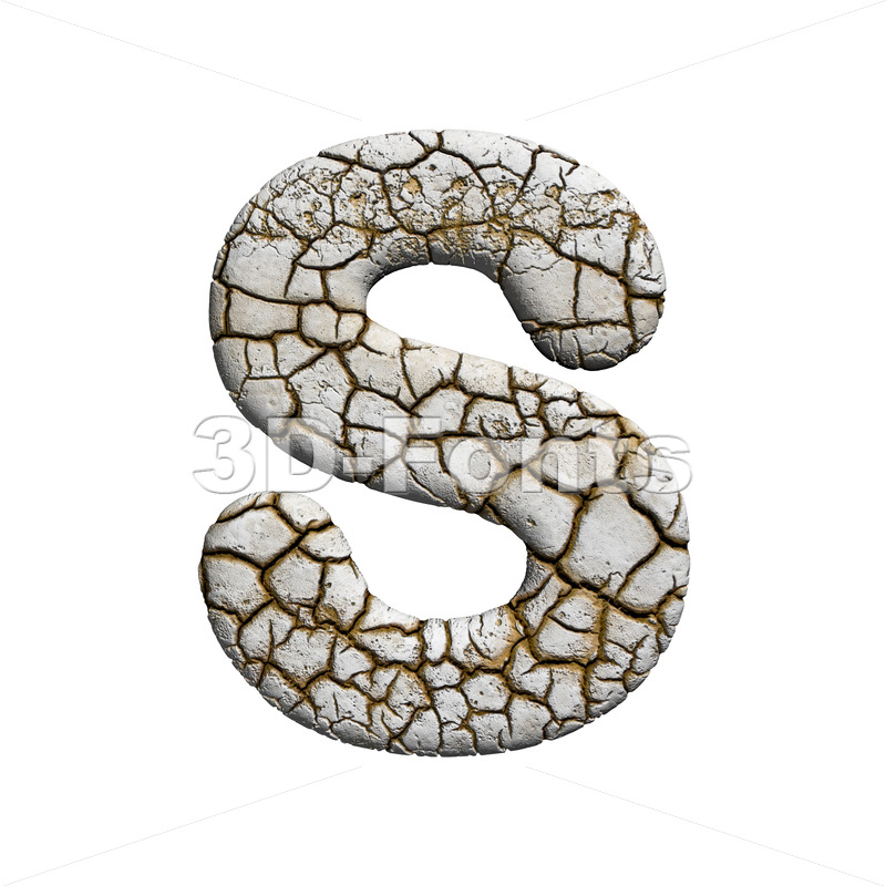 3d Uppercase font S covered in cracked texture - 3d-fonts