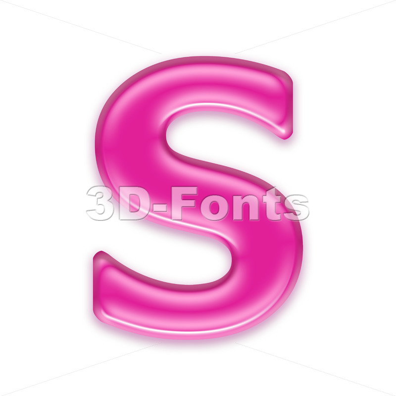 3d Uppercase font S covered in girly texture - Capital 3d letter - 3d-fonts