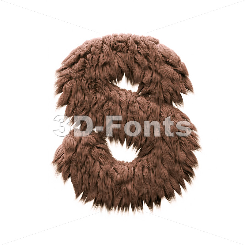 3d Uppercase font S covered in yeti texture - Capital 3d letter - 3d-fonts