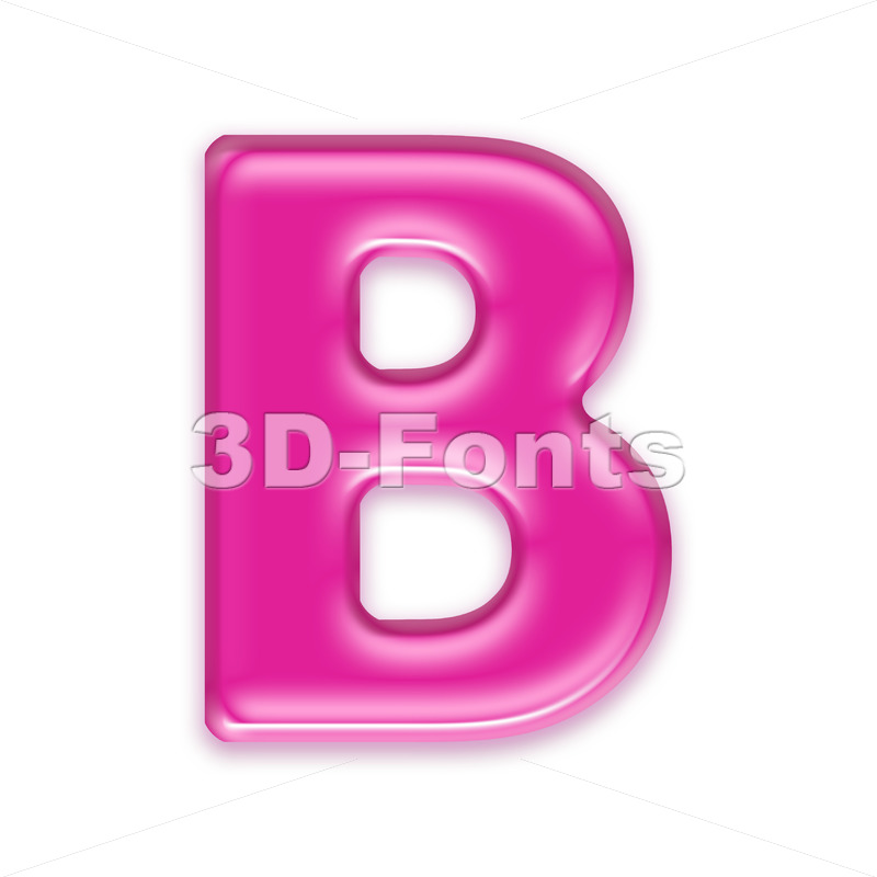 Capital pink letter B - Upper-case 3d font - 3d-fonts