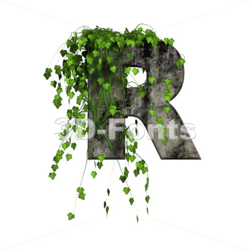 Ivy covered stone letter R - Uppercase 3d font - 3d-fonts