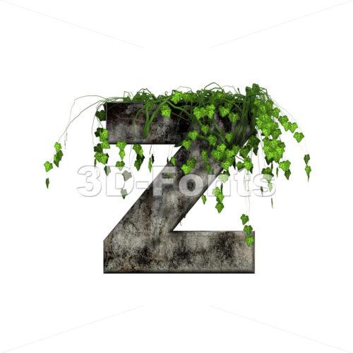 Ivy covered stone letter Z - Upper-case 3d font - 3d-fonts