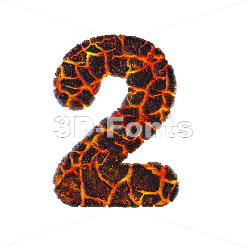 Lava digit 2 - 3d number - 3d-fonts