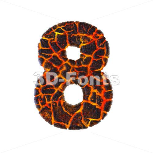 Lava digit 8 - 3d number - 3d-fonts