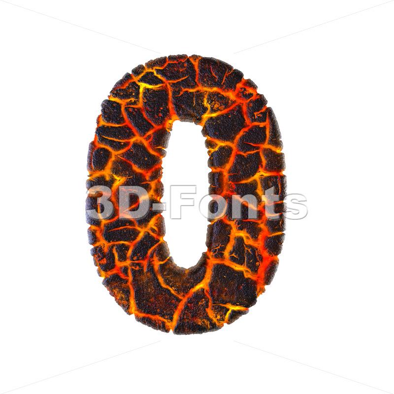 Lava number 0 - 3d digit - 3d-fonts