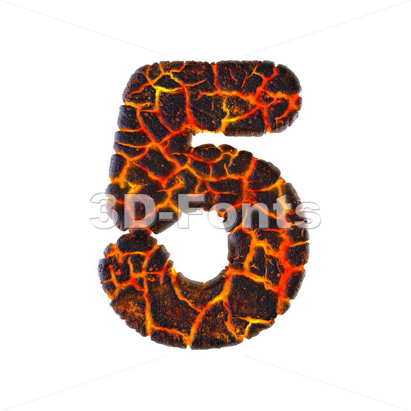 Lava number 5 - 3d digit - 3d-fonts