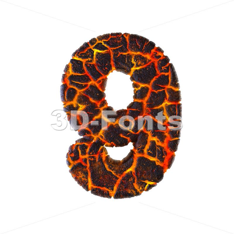 Lava number 9 - 3d digit - 3d-fonts