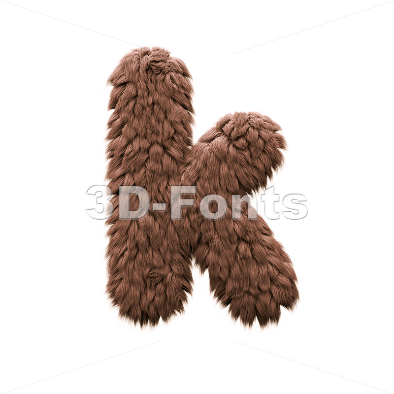 Lower-case sasquatch character K - Small 3d letter - 3d-fonts
