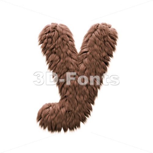 Lowercase bigfoot character Y - Small 3d letter - 3d-fonts