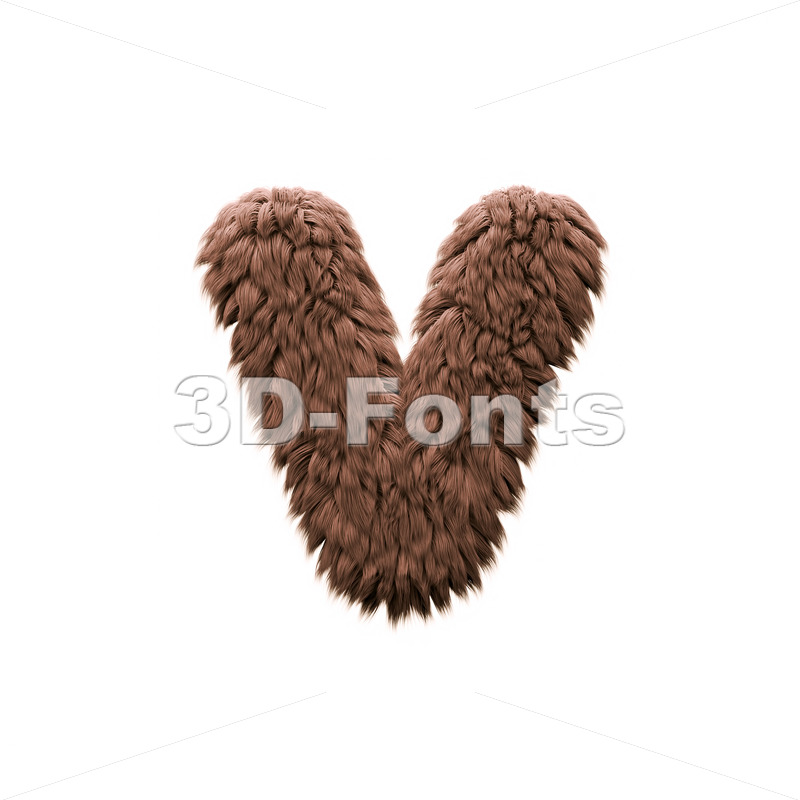 Lowercase yeti font V - Small 3d letter - 3d-fonts