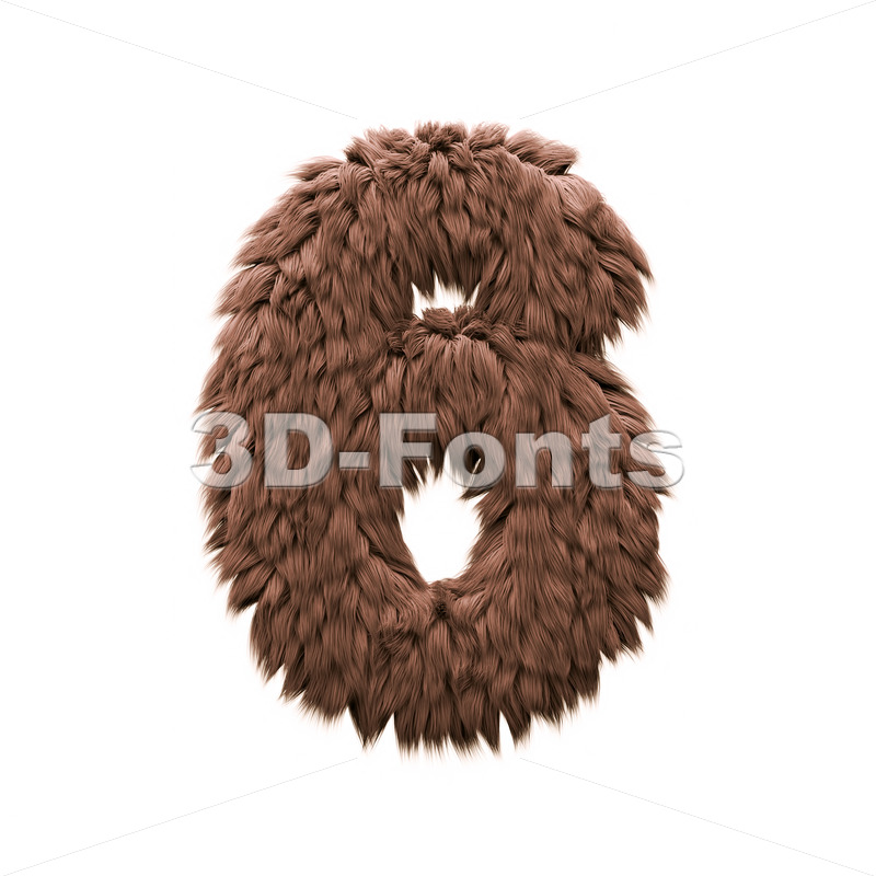 Monster digit 6 - 3d number - 3d-fonts