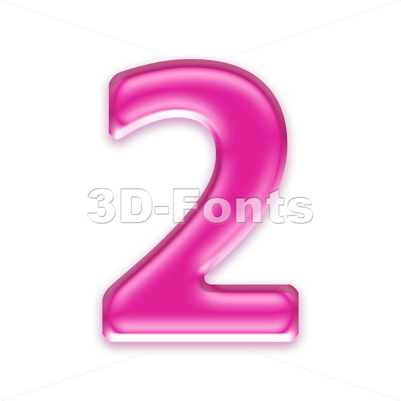 Pink jelly digit 2 - 3d number - 3d-fonts