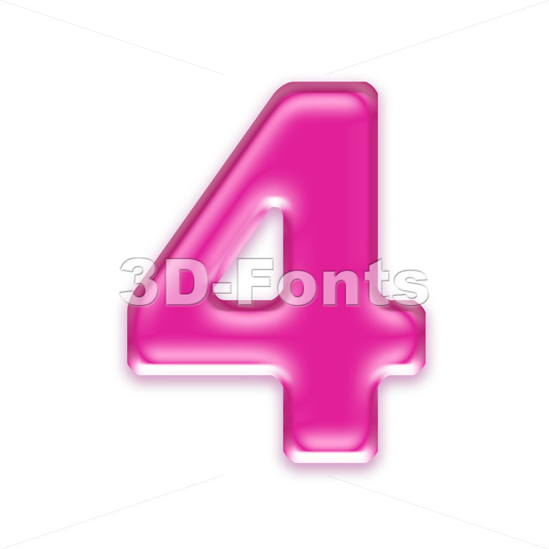 Pink jelly digit 4 - 3d number - 3d-fonts