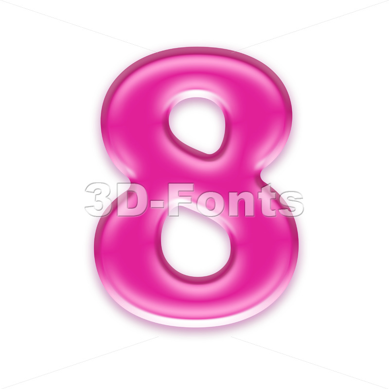 Pink jelly digit 8 - 3d number - 3d-fonts
