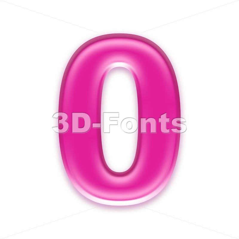 Pink jelly number 0 - 3d digit - 3d-fonts
