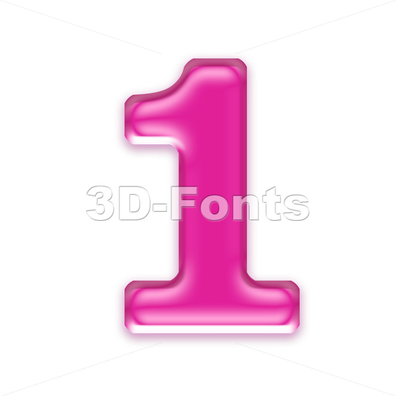 Pink jelly number 1 - 3d digit - 3d-fonts