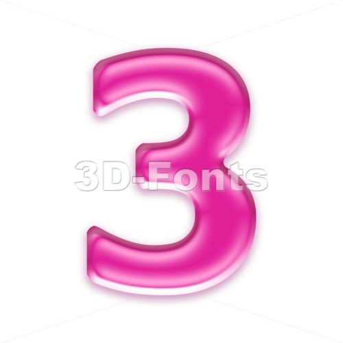 Pink jelly number 3 - 3d digit - 3d-fonts