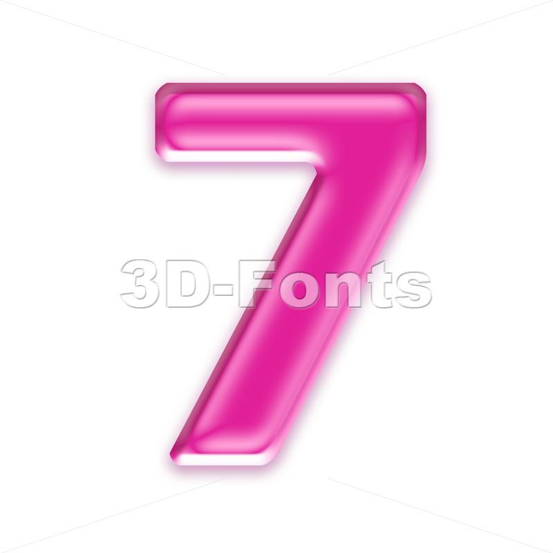 Pink jelly number 7 - 3d digit - 3d-fonts