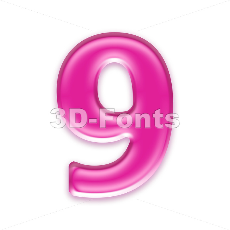 Pink jelly number 9 - 3d digit - 3d-fonts