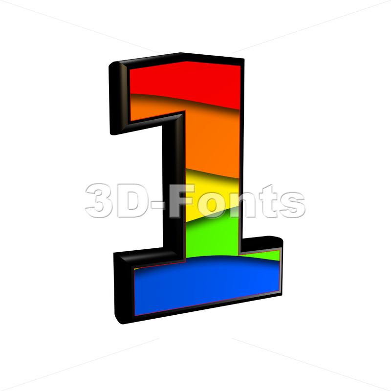 Rainbow number 1 - 3d digit - 3d-fonts