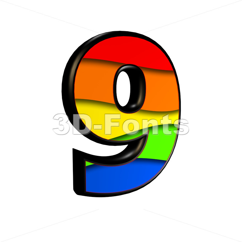 Rainbow number 9 - 3d digit - 3d-fonts