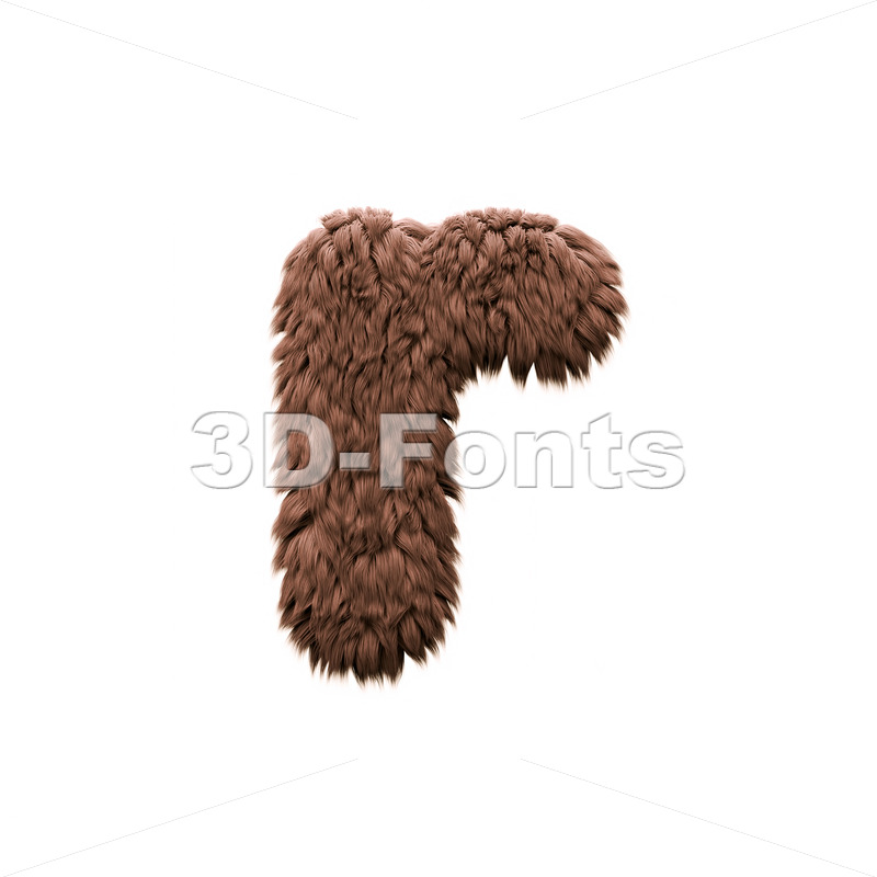 Small yeti character R - Lower-case 3d letter - 3d-fonts