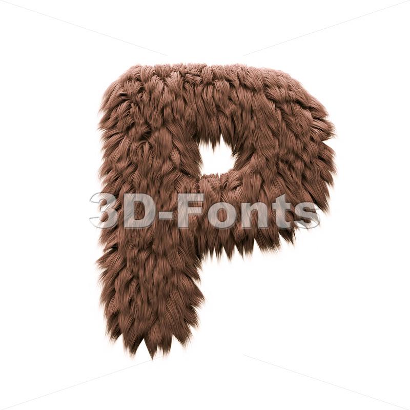 Upper-case bigfoot character P - Capital 3d font - 3d-fonts