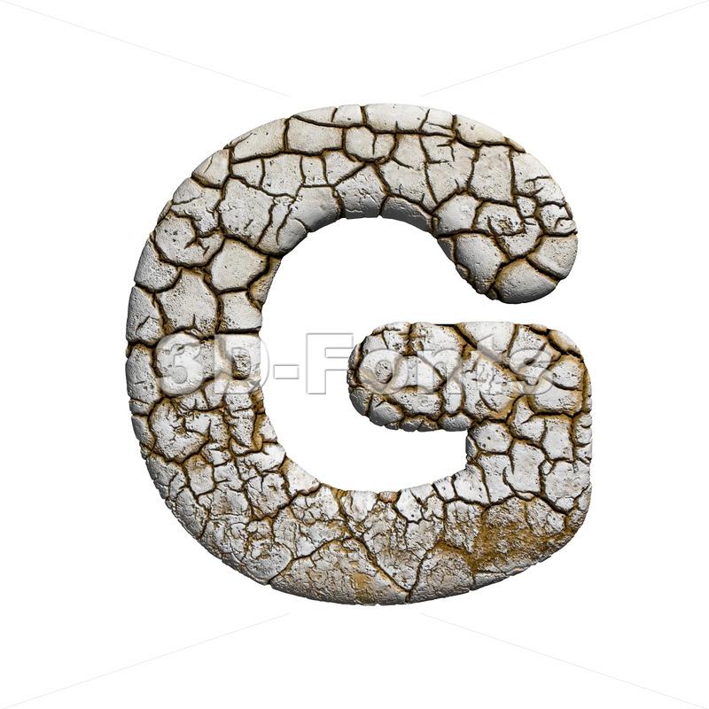 Upper-case cracked character G - Capital 3d font - 3d-fonts